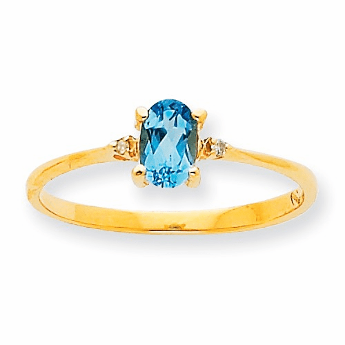10k Polished Geniune Diamond & Blue Topaz Birthstone Ring 10xbr213