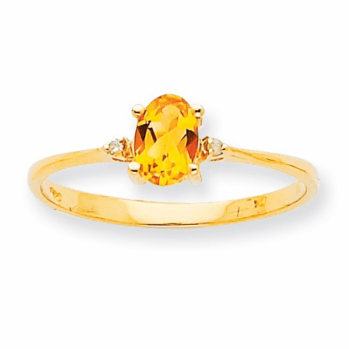 10k Polished Geniune Diamond & Citrine Birthstone Ring 10xbr212