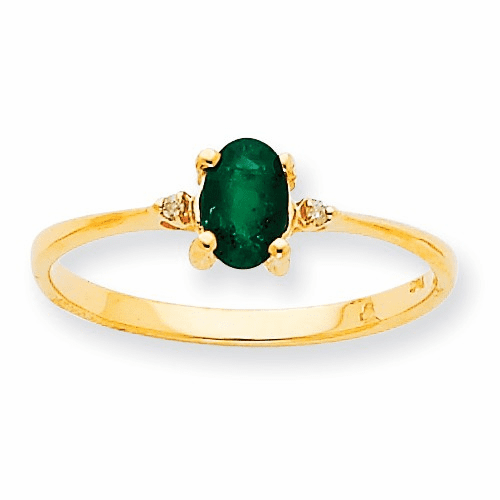 10k Polished Geniune Diamond & Emerald Birthstone Ring 10xbr206