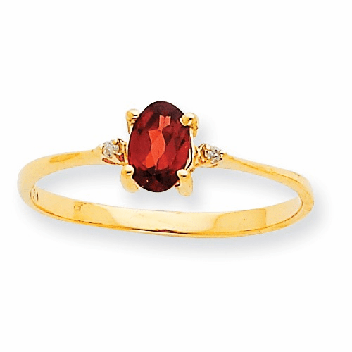 10k Polished Geniune Diamond & Garnet Birthstone Ring 10xbr202