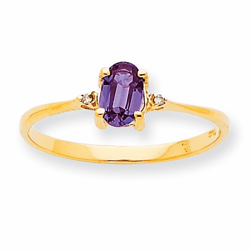 10k Polished Geniune Diamond & Rhodolite Garnet Birthstone Ring