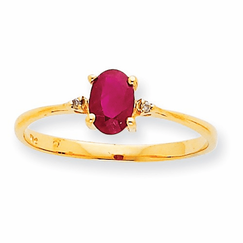 10k Polished Geniune Diamond & Ruby Birthstone Ring 10xbr208