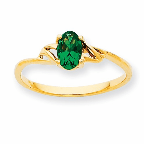 10k Polished Geniune Emerald Birthstone Ring 10xbr134