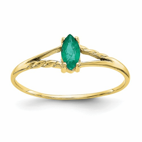 10k Polished Geniune Emerald Birthstone Ring 10xbr182