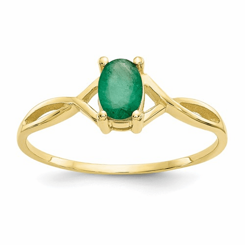 10k Polished Geniune Emerald Birthstone Ring 10xbr230
