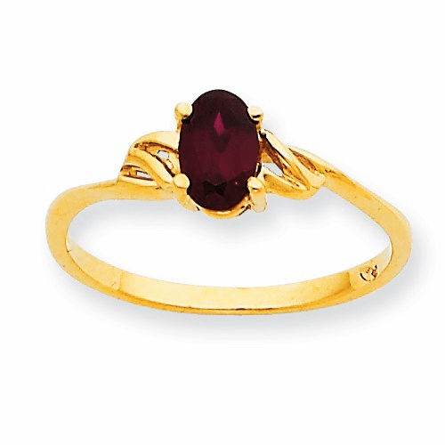 10k Polished Geniune Garnet Birthstone Ring 10xbr130