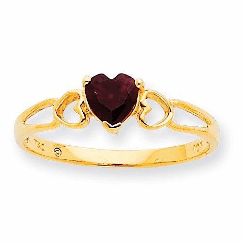 10k Polished Geniune Garnet Birthstone Ring 10xbr154