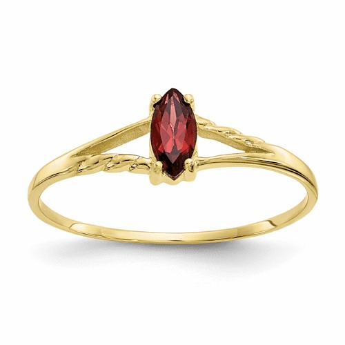 10k Polished Geniune Garnet Birthstone Ring 10xbr178