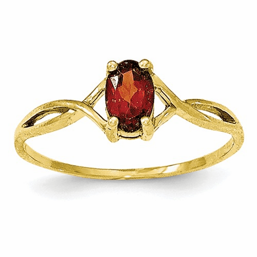 10k Polished Geniune Garnet Birthstone Ring 10xbr226