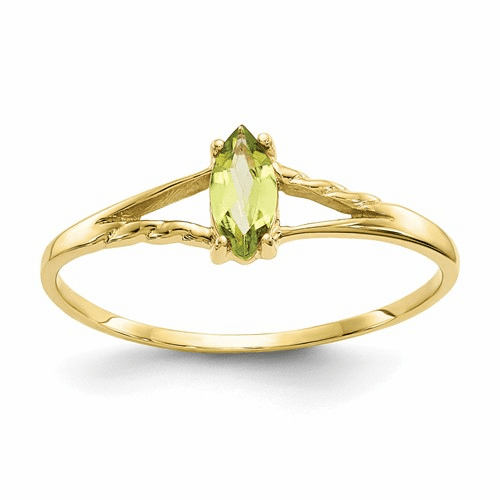 10k Polished Geniune Peridot Birthstone Ring 10xbr185