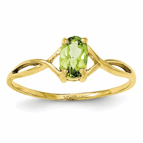 10k Polished Geniune Peridot Birthstone Ring 10xbr233