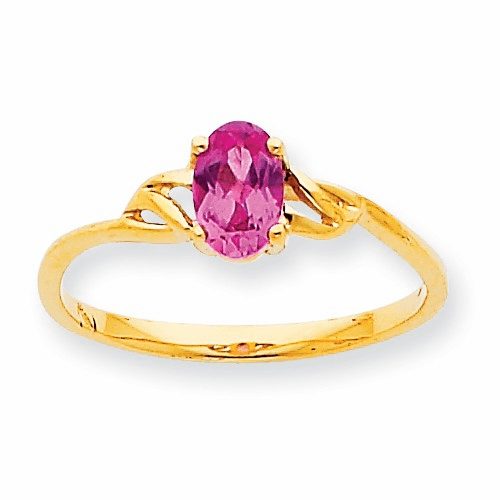 10k Polished Geniune Pink Tourmaline Birthstone Ring 10xbr139