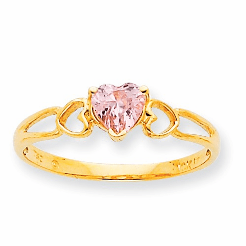 10k Polished Geniune Pink Tourmaline Birthstone Ring 10xbr163