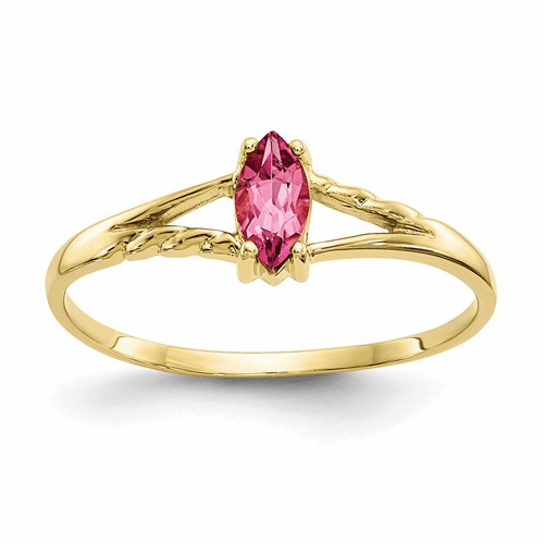 10k Polished Geniune Pink Tourmaline Birthstone Ring 10xbr187