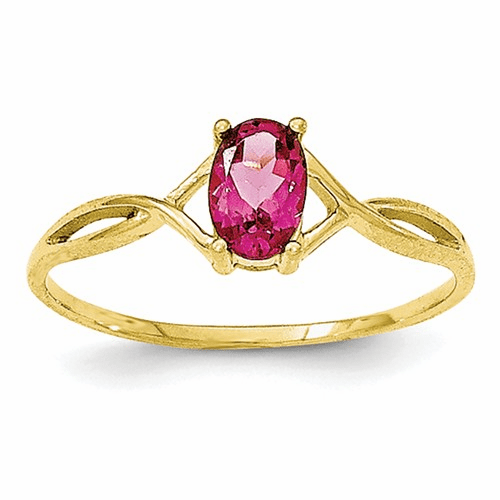10k Polished Geniune Pink Tourmaline Birthstone Ring 10xbr235