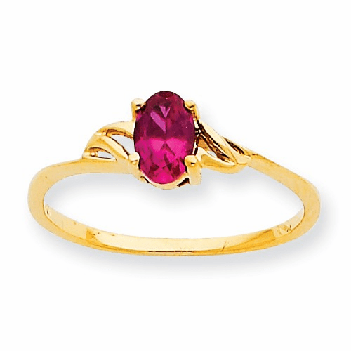 10k Polished Geniune Ruby Birthstone Ring 10xbr136