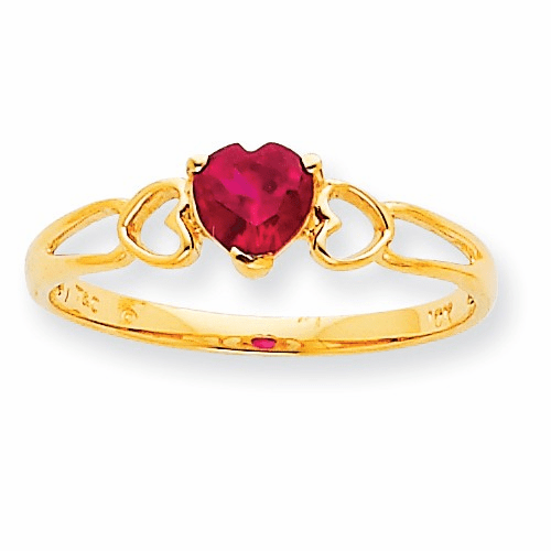 10k Polished Geniune Ruby Birthstone Ring 10xbr160