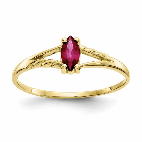 10k Polished Geniune Ruby Birthstone Ring 10xbr184