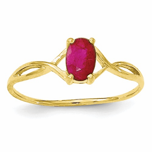 10k Polished Geniune Ruby Birthstone Ring 10xbr232