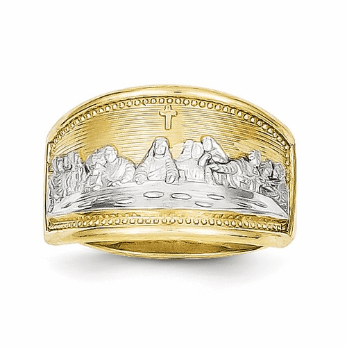 10k & Rhodium Ladies Last Supper Ring 10c1292