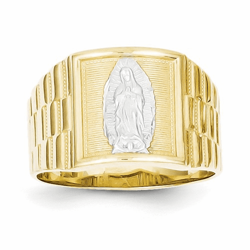 10k & Rhodium Men's Our Lady Of Guadalupe Ring 10c1294