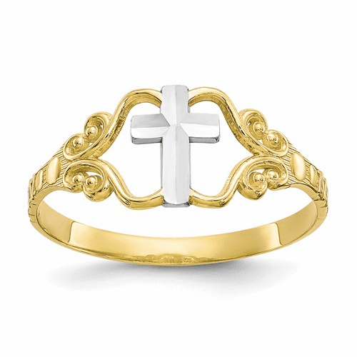 10k & Rhodium Polished Cross Ring 10c1279