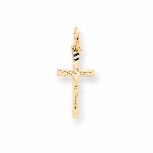 10k Solid Satin Polished Cross Charm 10c79
