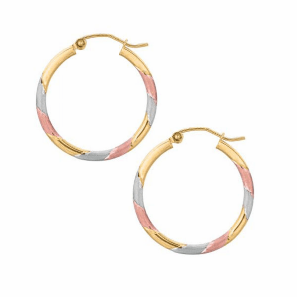10K Tricolor Satin/ Diamond Cut Round Hoop Earring with Hinged Clasp