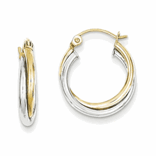 10k Two-tone Hoop Earrings