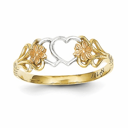 10k Two-tone & Rhodium Double Heart Ring 10c1239