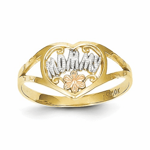 10k Two-tone & Rhodium Mommy Heart Ring 10c1225