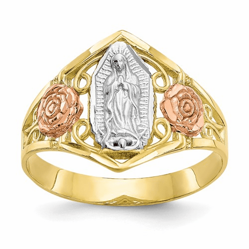 10k Two-tone & Rhodium Our Lady Of Guadalupe Ring 10c1288
