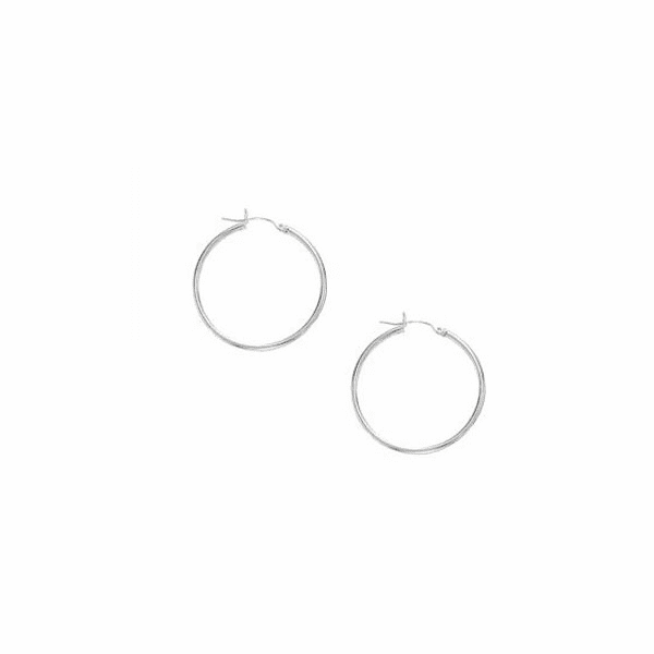 10K White Gold 1.0X25mm Lt.Tube Hoop with Hinged Clasp
