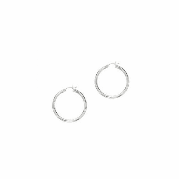 10K White Gold 2.0X25mm Shiny Round Hoop Earring with Hinged Clasp