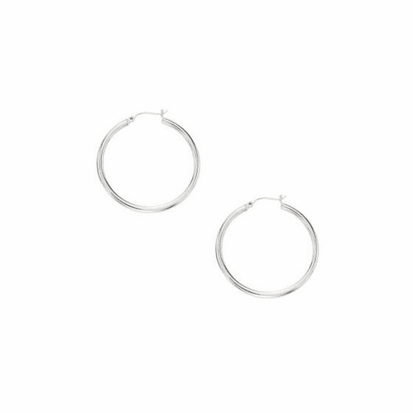 10K White Gold 2.0X30mm Shiny Round Hoop Earring with Hinged Clasp