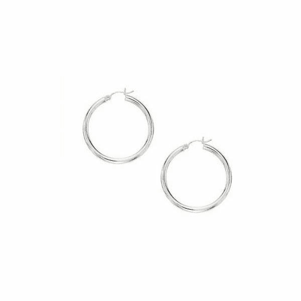 10K White Gold 3X30mm Hoop Earring with Hinged Clasp