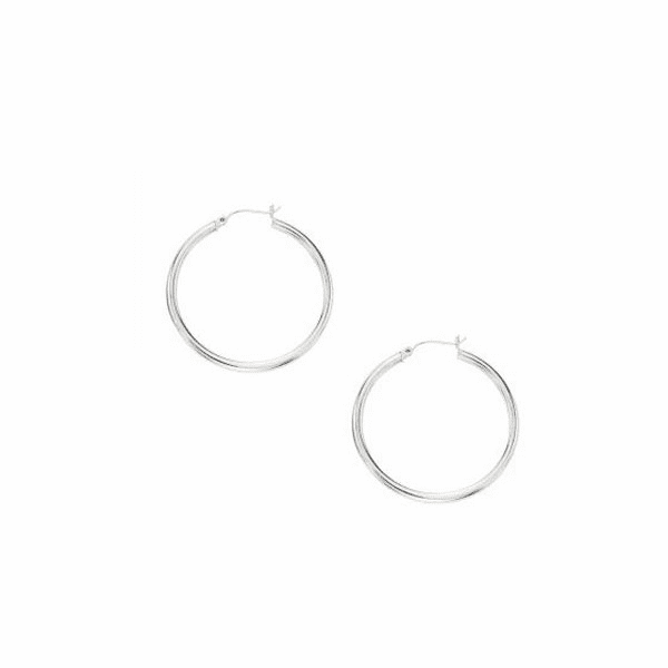 10K White Gold 3X40mm Hoop Earring with Hinged Clasp