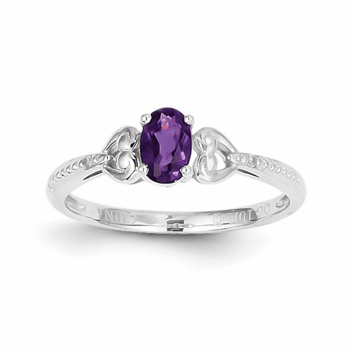 10k White Gold Amethyst Diamond Ring 10xb287