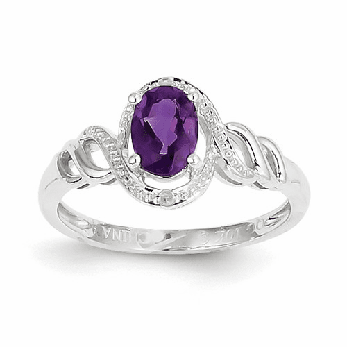 10k White Gold Amethyst Diamond Ring 10xb311