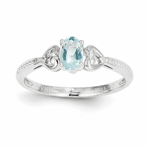 10k White Gold Aquamarine Diamond Ring 10xb288