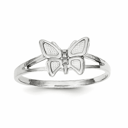 10k White Gold Butterfly Ring 10wc25
