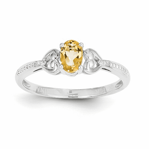 10k White Gold Citrine Diamond Ring 10xb296