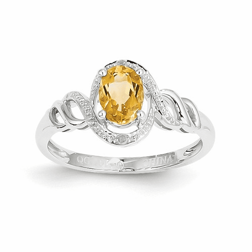 10k White Gold Citrine Diamond Ring 10xb320