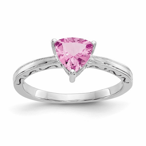 10k White Gold Created Pink Sapphire Ring 10x194