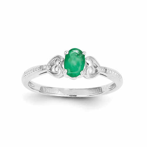 10k White Gold Emerald Diamond Ring 10xb290