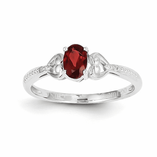 10k White Gold Garnet Diamond Ring 10xb286