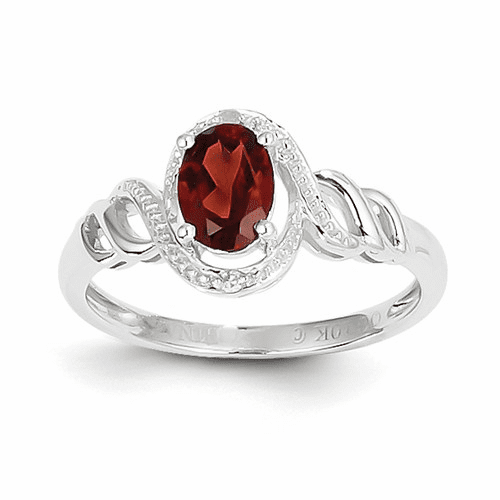 10k White Gold Garnet Diamond Ring 10xb310