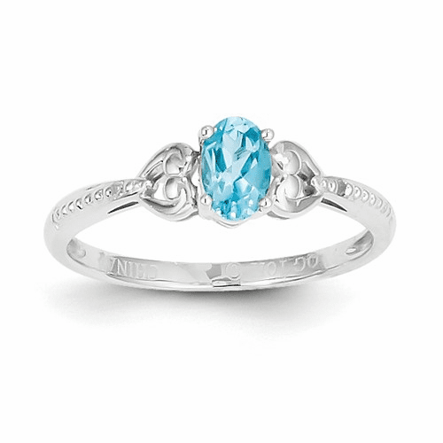 10k White Gold Light Swiss Blue Topaz Diamond Ring 10xb297