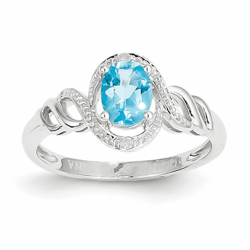 10k White Gold Light Swiss Blue Topaz Diamond Ring 10xb321