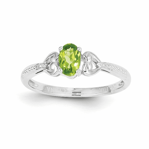10k White Gold Peridot Diamond Ring 10xb293